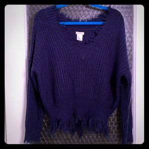 Main strip over sized distressed sweater